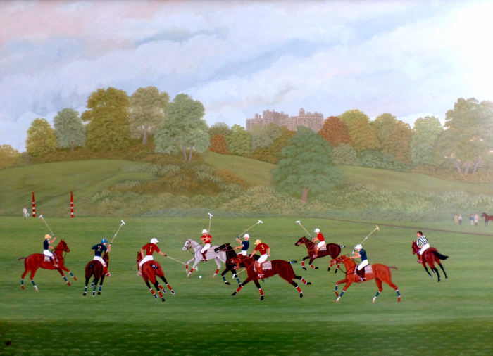 "Vincent Haddelsey Oil Painting "" Polo Match"""