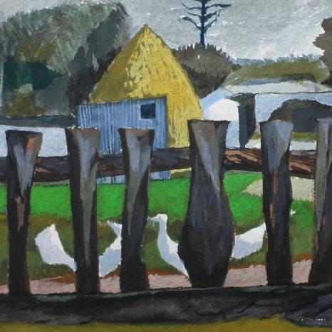 "Gouache & w/c ""Farm Yard"""