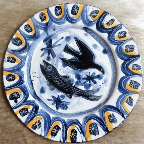 Ceramic Plate Birds and Fish