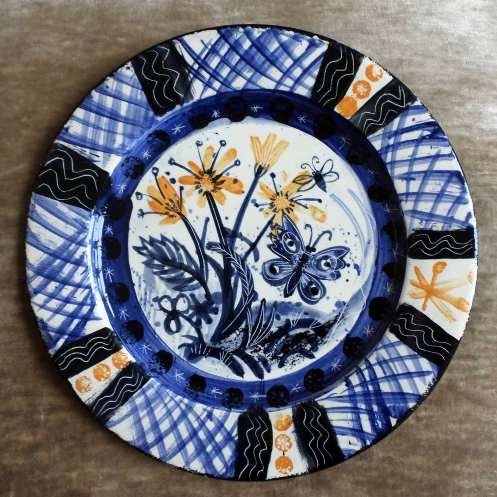 Mark Hearld Ceramic plate - 'Flower and Butterfly'