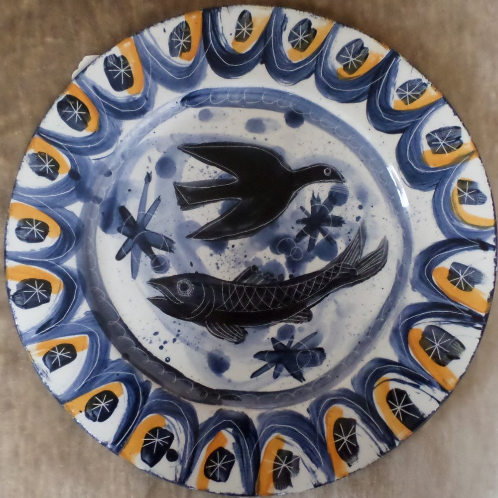 Mark Hearld Ceramic plate - 'Bird and Fish'