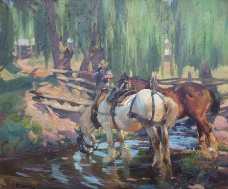 This Harold Septimus Power oil on canvas is available for sale and is a wonderful example of the artists popular heavy working horses paintings. Please enquire for details.