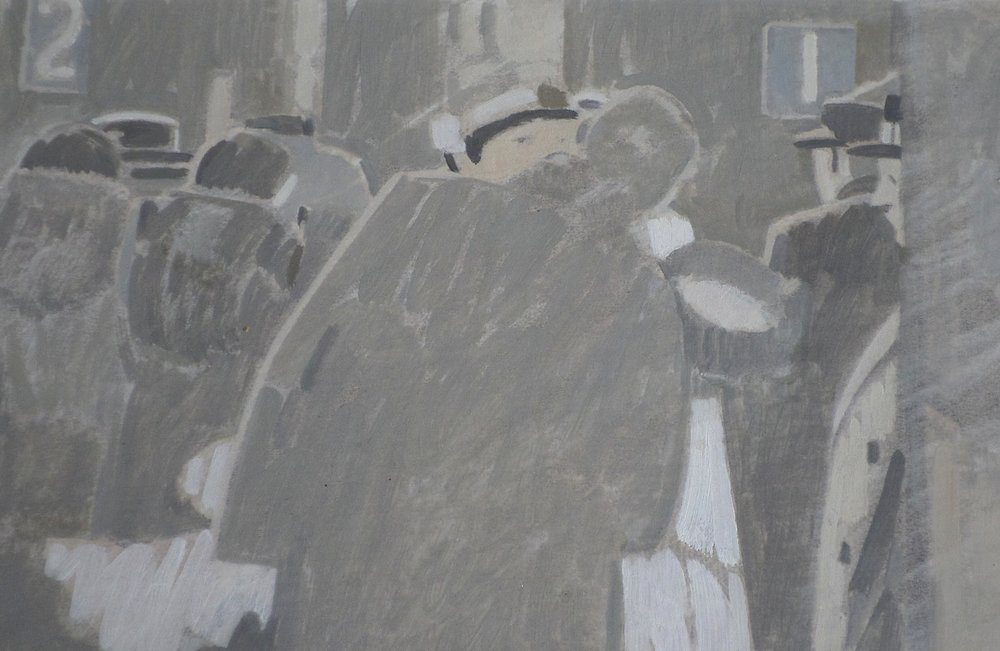 "Michael Upton -Oil on paper ""Kiss"""