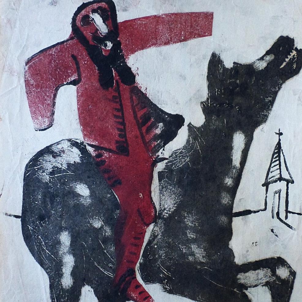 Man & Horse-colour monotype