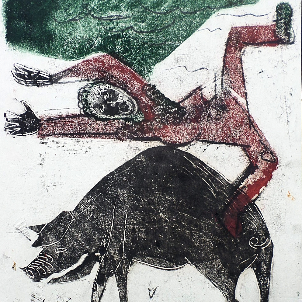 3 colour monotype-Pig farmer