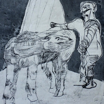 "From our personal collection W/C over offset carbon transfer. ""Horse & Man""series."