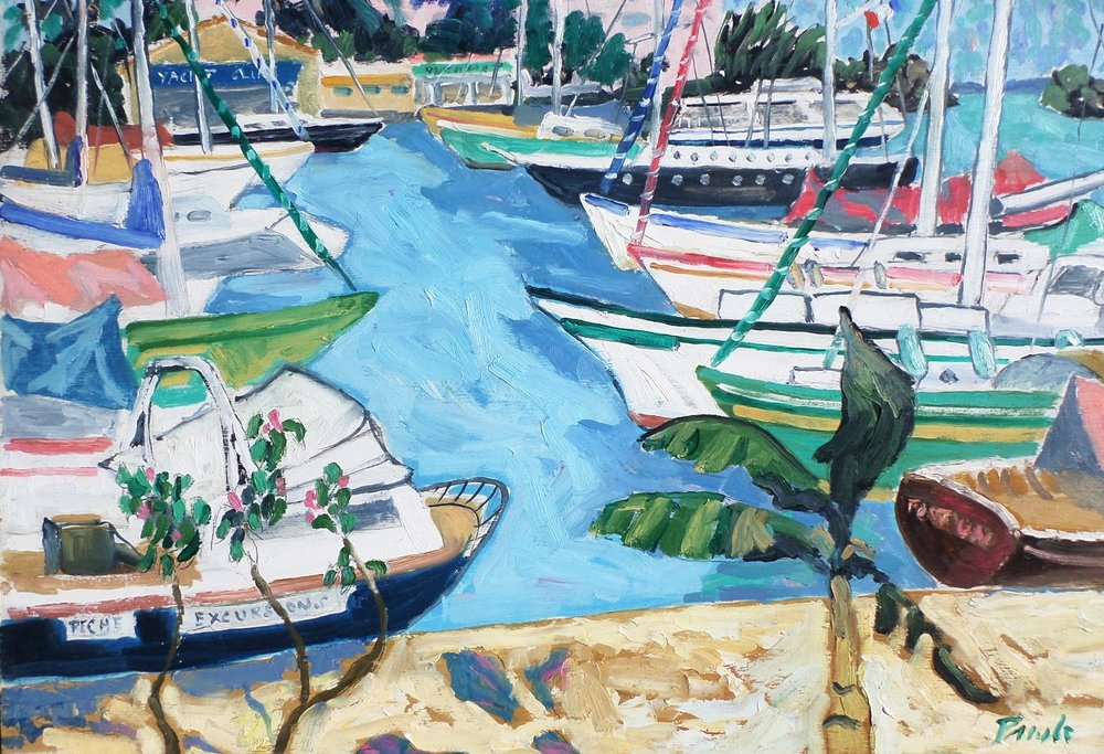 john pawle painting of Martinique harbour