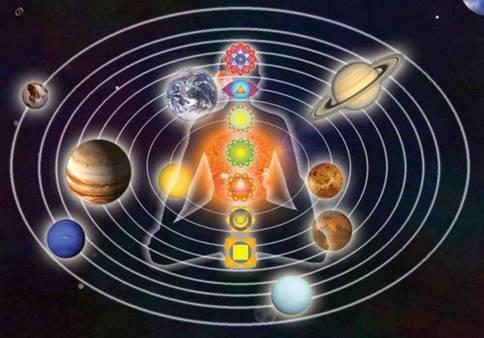 Dans le grand web d'énergie, le champ des planètes nous influence       mais ne nous détermine pas.