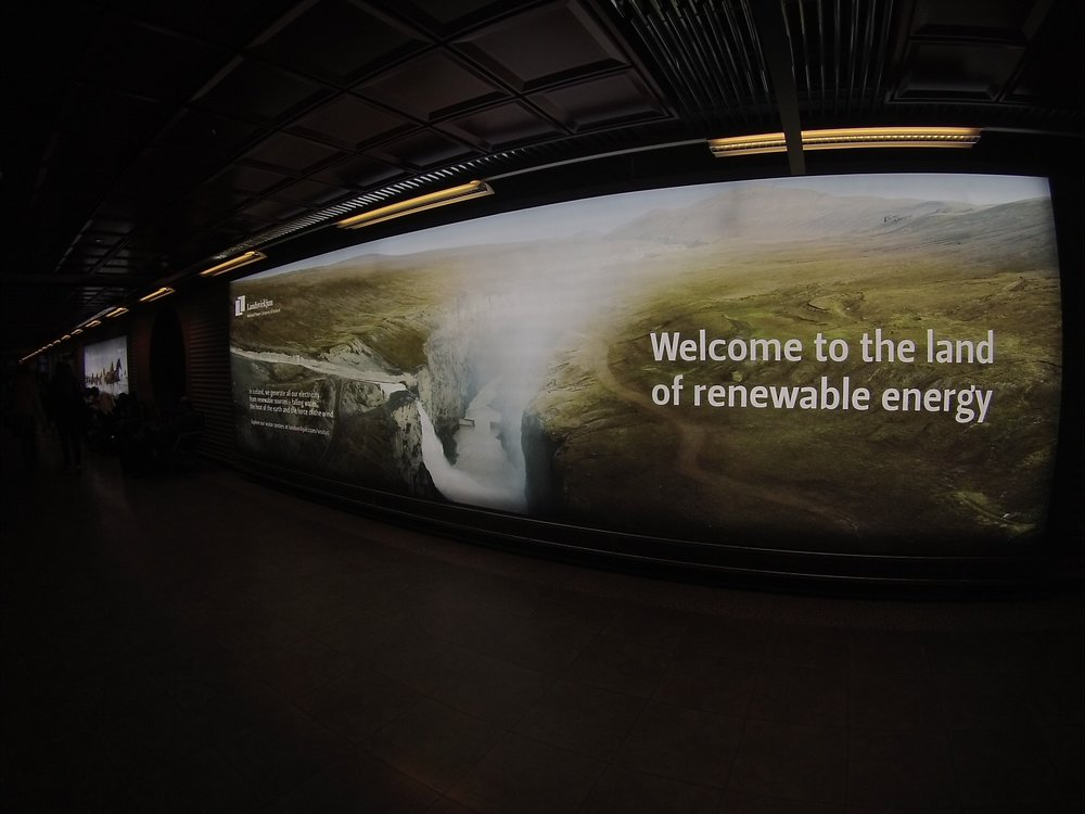 Iceland are proud of their achievements in renewable technologies- this is the first poster you see as you land in the airport.