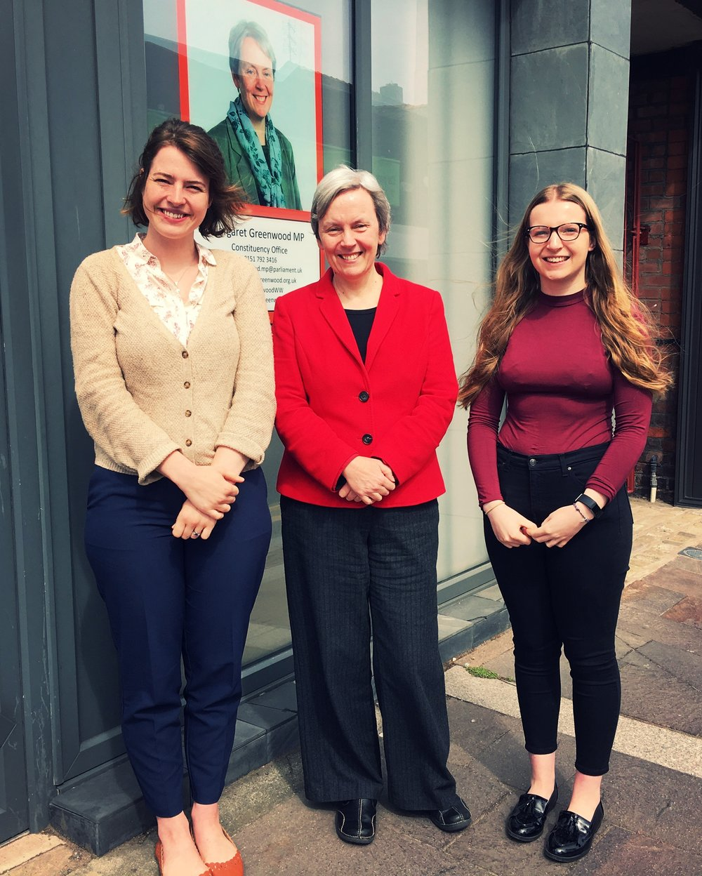 Jo Musker-Sherwood (HFTF Director), Margaret Greenwood MP and Laura D'Henin (HFTF Researcher)