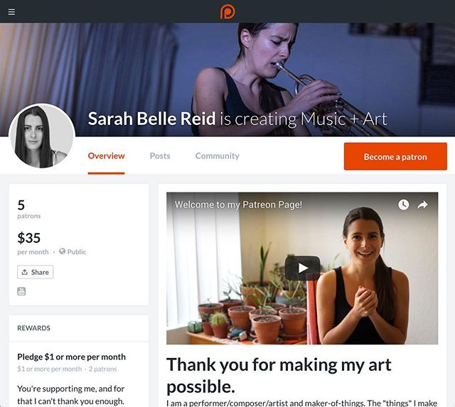 Super excited to announce the launch of my #Patreon page! When I'm not creating vegan recipes and taking photos of fruit I'm making music and art! Patreon is an amazing way for people to directly contribute to my future as an artist and join us to connect as a community. Check it out at www.patreon.com/Sarahbellereid to learn more about awards and to become my patron! 🎺💪🌱🍌🎶