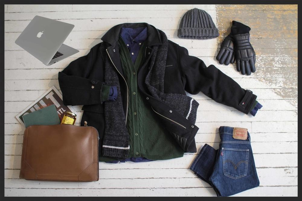 Manteau en Laine Tommy Hilfiger : $85, Chemise: 32, Cardigan: $32, Jean Levi's : $38, Bonnet en Laine Miyuki crochet: $48, Gants en cui: $22, portfolio en cuir: $32, Echarpe: $25, Miel: $7