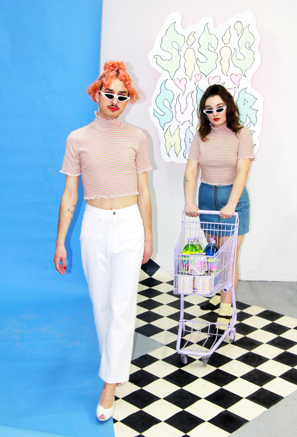 spring pastels with a twist - The second part of our Citizen Handmade collection is all about fun. Mesh, stripes, plaid and energizing colours to wake us all up after a long grey winter.Styling by Leah Beth GoldModels: Sekoya Wellings and Stephane ChristinelMake-up provided by Fluide