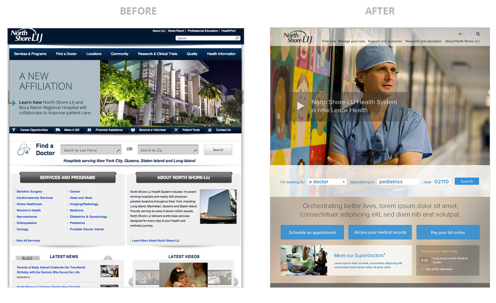 Before and after of the NS-LIJ website. Molly led the visual design effort.