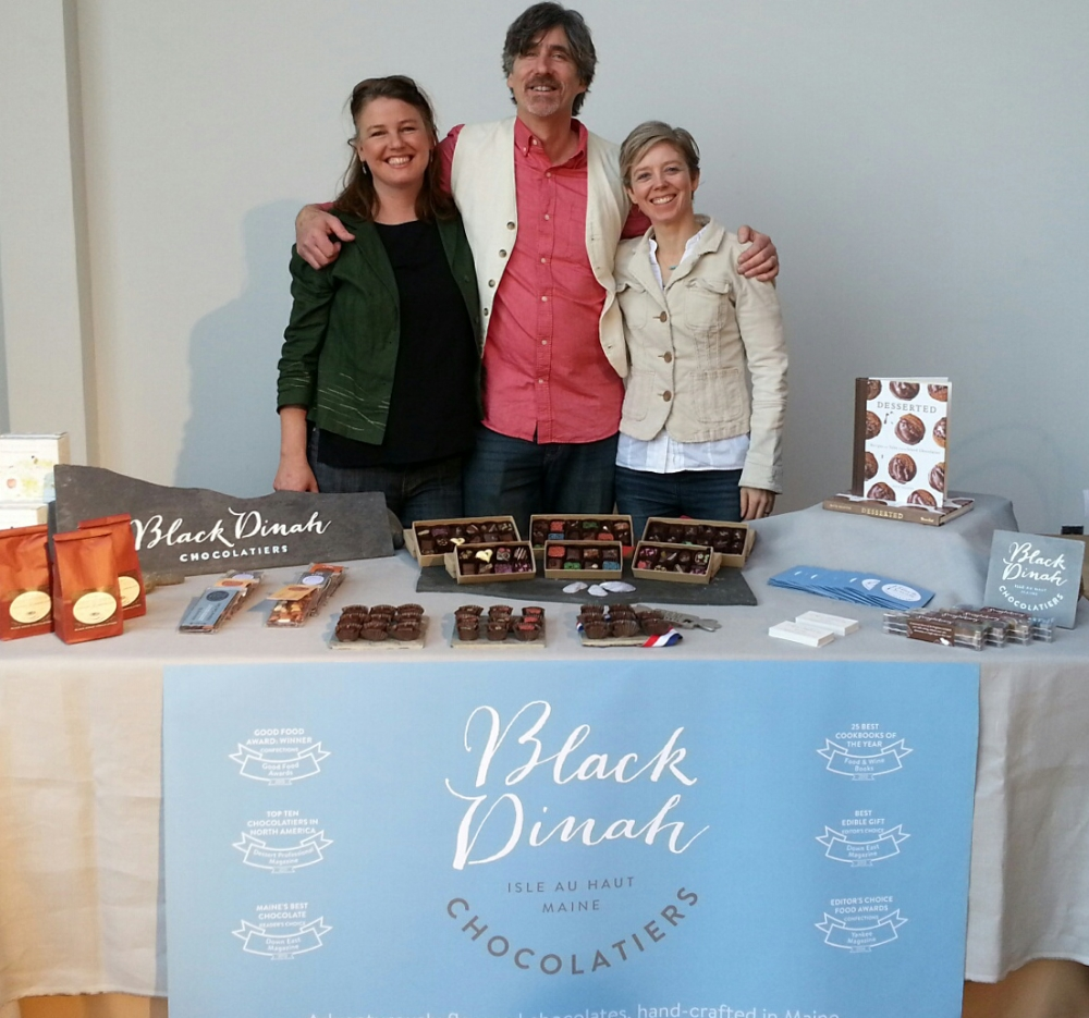 When Kate (left) and Steve (center), co-owners of Black Dinah Chocolatiers, came to San Francisco to receive a Good Food Award, I (at right) created and produced their booth for an invitation-only trade show.