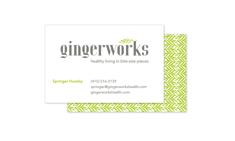 The pattern on the backs of these business cards uses the spring green frond from the logo to create a rich and attention-getting visual.