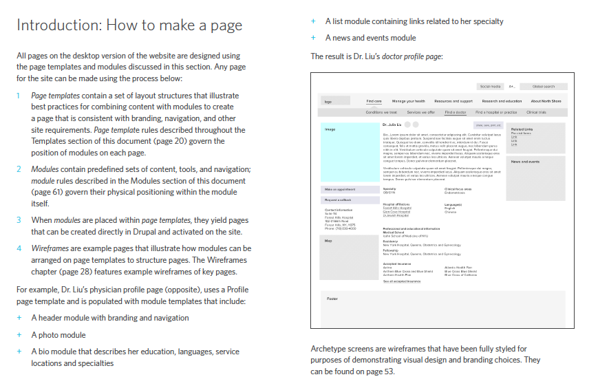 Our documentation included a section on how to create pages through our modular system.