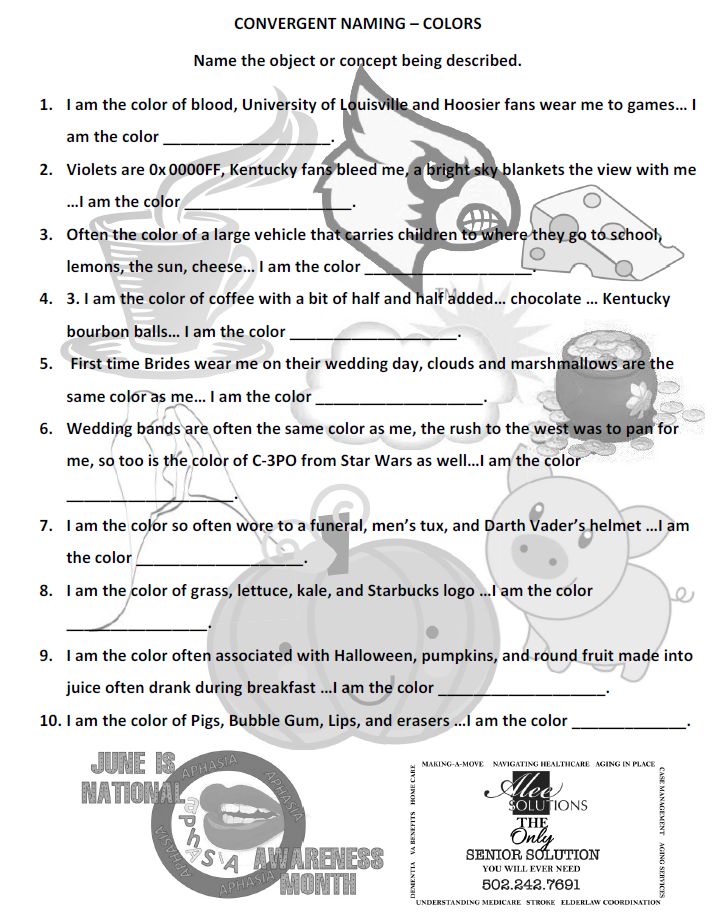June is National Aphasia Awareness Month Free Convergent Naming – Aphasia Worksheets
