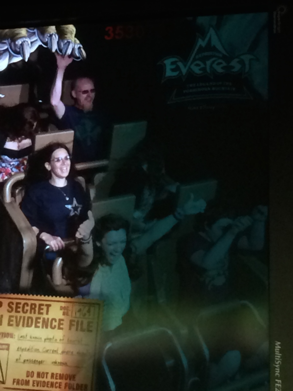 Not the best picture because of lighting. On the ride. I'm on the bottom left.