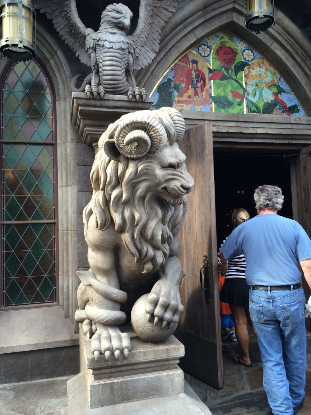 Stone Lion guarding the doors.