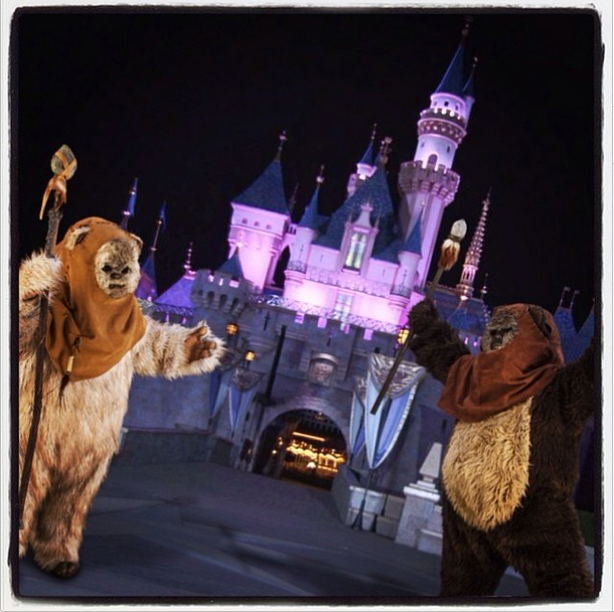 Ewoks in front of the Sleeping Beauty Castle - indicating Disneyland