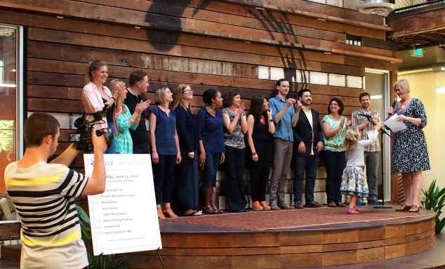 the BALLE team being recognized at the closing party at Impact Hub Oakland, a co-working space