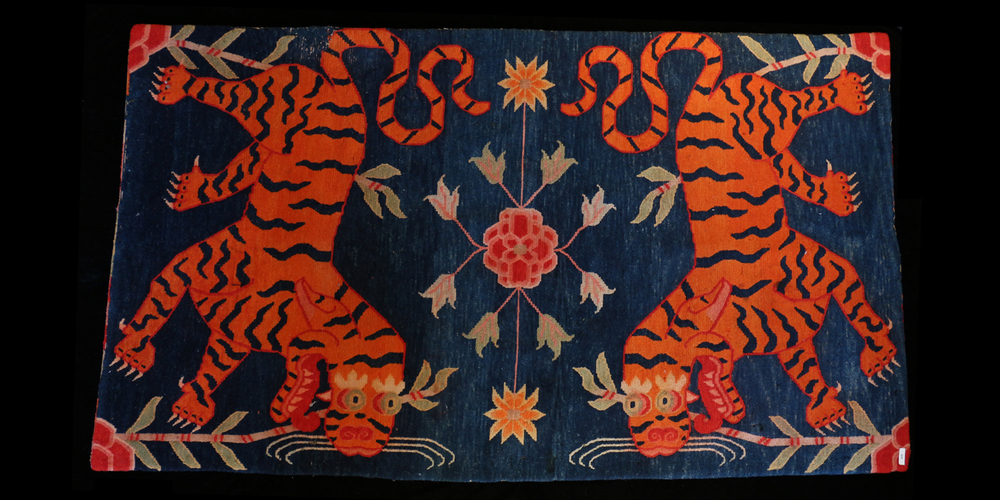 Early 20c Tibetan Lamas Tiger Rug