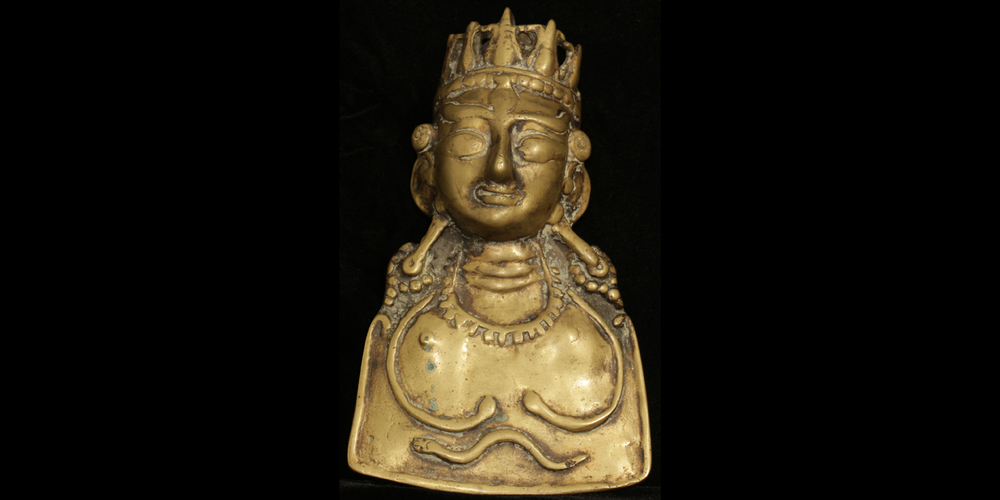 16c. Shaivite Mask, bronze, Kulu India