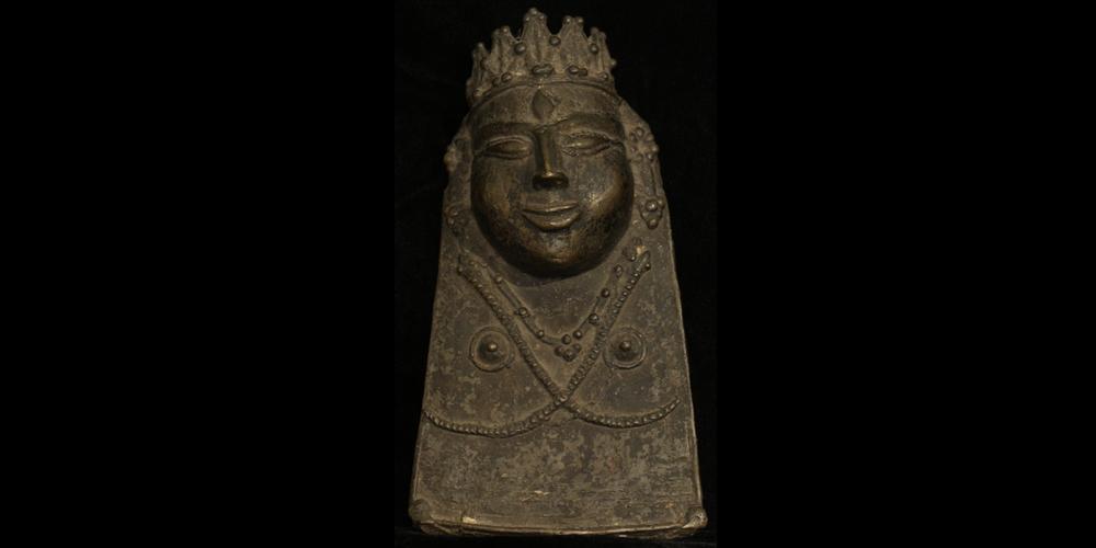 18c. Shaivite Mask, bronze, Kulu India