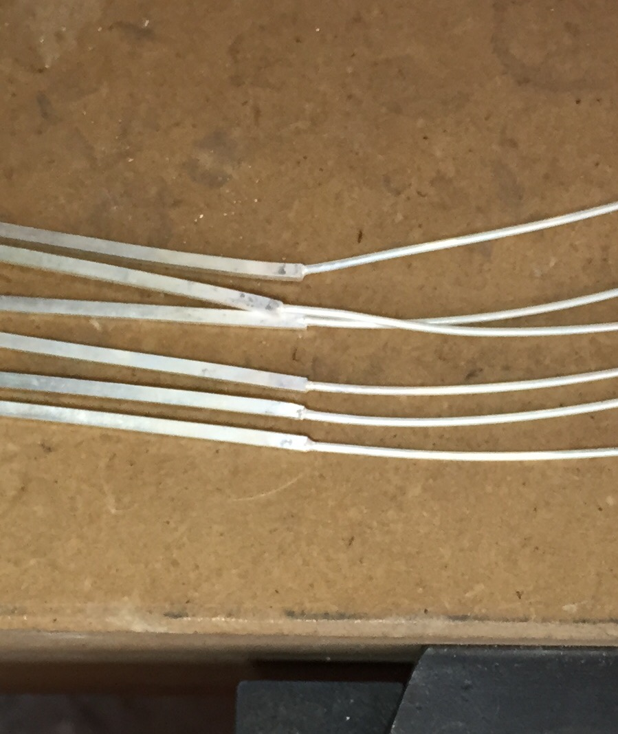 three pairs of posts/wires soldered