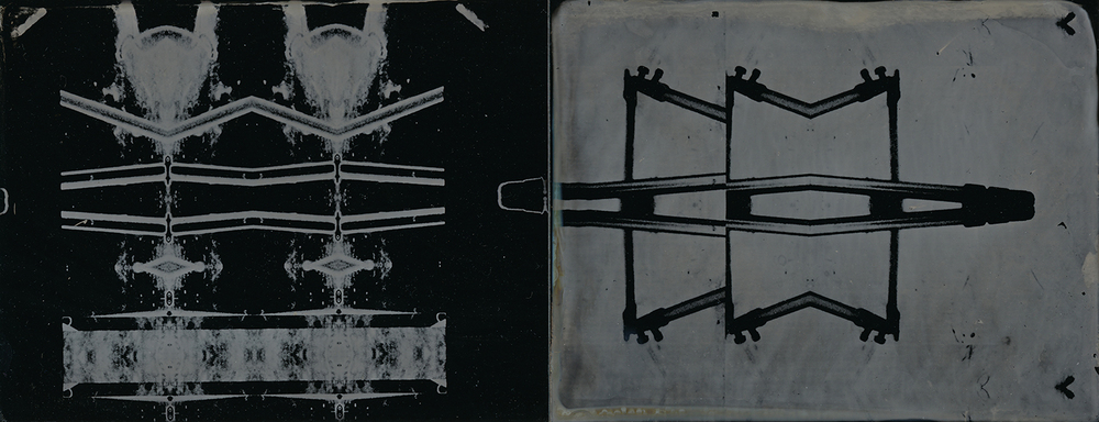 """Diptych 1""  3.5"" x 9"" ferrotype diptych.  Framed to 11"" x 17"".  Amy Rockett-Todd 2013."