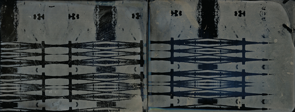 """Diptych 3"" 3.5"" x 9"" ferrotype diptych.  Framed to 11"" x 17"".  Amy Rockett-Todd 2013."