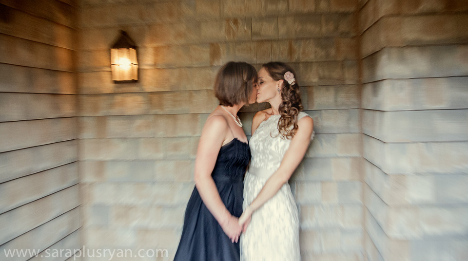 newly wed wives kissing alone
