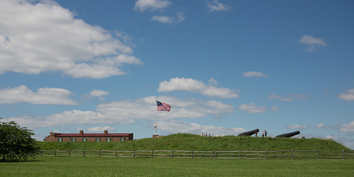 You will see  Fort McHenry  with the Star Spangled Banner flying proudly in the breeze.