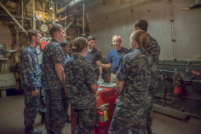 Students from the Naval Academy in Annapolis visited the BROWN as part of their engineering class. Here, Mike worked with half of the group in the Engine Room.