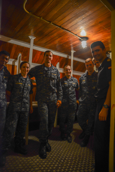 It was a very hot day and we popped a few of them in the walk-in freezer to cool them down. On this day, not only did we have those from the Naval Academy, but we had visiting crew members from   El Galeón Andalucía