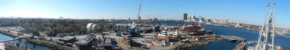 What's going on at Colonna's? CLICK HERE to see mid-morning panoramic view from the BROWN's main mast!