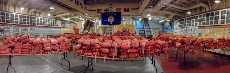 A panoramic view of #1 tween deck with the lifejackets that are being replaced this year.