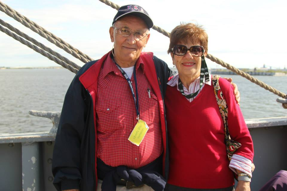 Here we have Tom, a Liberty Ship veteran and graduate of the JWB (class of '51), with his wife Marie, enjoying a day at sea on the October 14th Living History Cruise.
