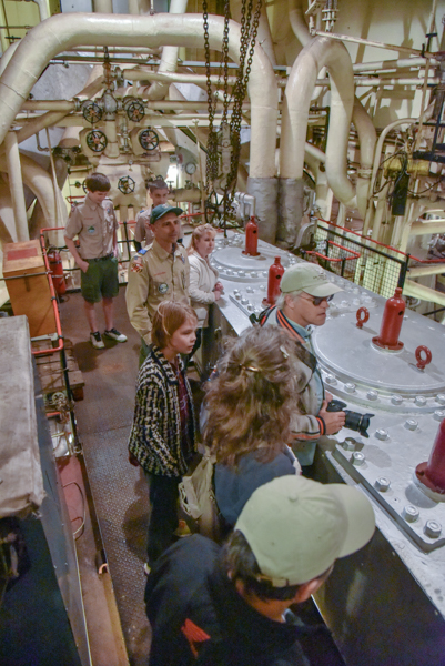 Another favorite place for visitors to visit is the Engine Room. Here everyone gets a look at the top of the triple expansion steam engine.