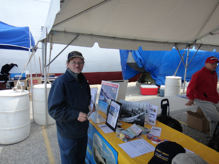 The JOHN W BROWN has a table at the Maritime Expo and we're happy to explain to visitors what we're about.