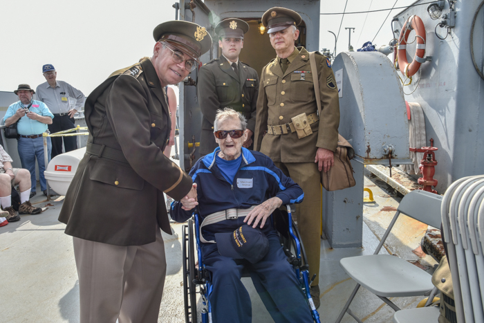 General Bradley was next to welcome Richard and to thank him for his service on 7 voyages as a Merchant Mariner.