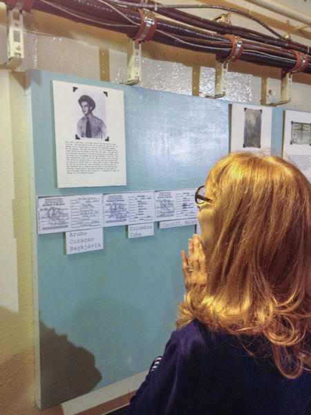 This is Nancy putting up the picture of her father during the war, with her words underneath. It's not always you get to see such a genuine reaction from someone involved in an exhibit.