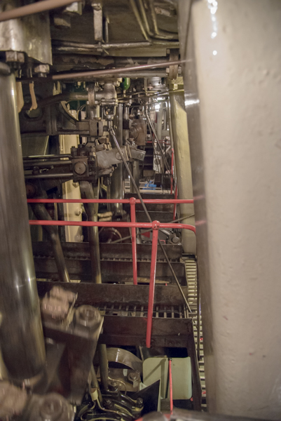 There are walkways along all levels of the engine room and each one gives visitors a different view of the engine at work. The pistons move in order and you can see blur from motion on the left of the photo.