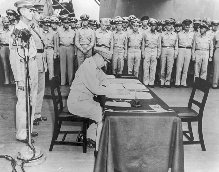 MacArthur Signs Surrender Documents
