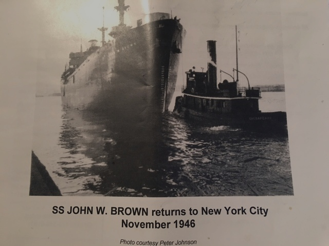 All of the BROWN's 13 wartime voyages either began or ended in New York.  In this picture, the BROWN was returning to her new home for the next 36 years.