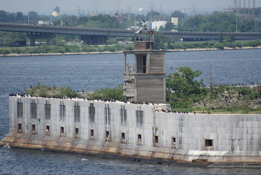 Fort Carroll in Baltimore's Harbor.  Its an uninhabited artificial island that is only 3 acres large, and was designed by Robert E Lee while he was with the U.S. Army Corps of Engineers in 1848.