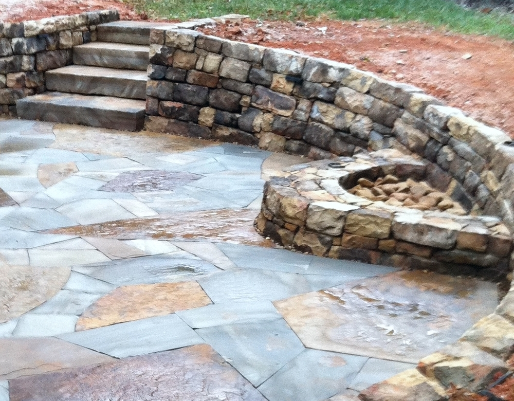 Dry laid walls and patio with firepit