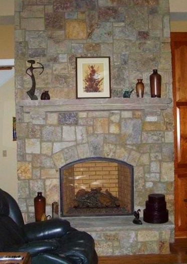 Sawn veneer natural stone fireplace