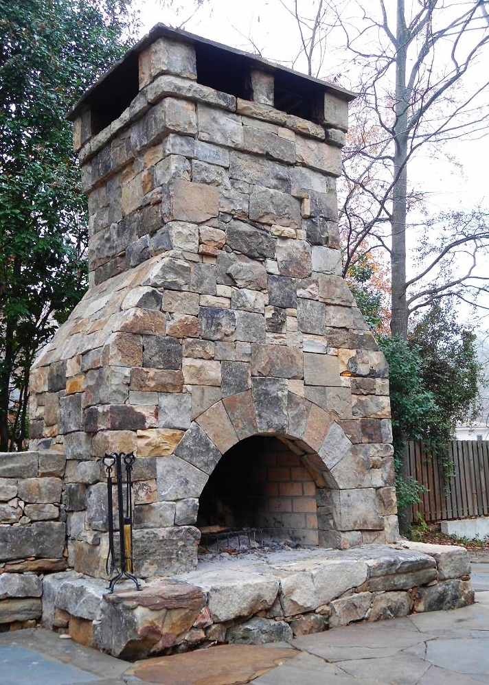 Massive building stone fireplace